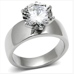 STAINLESS STEEL AAA Grade CZ Solitaire Band Ring